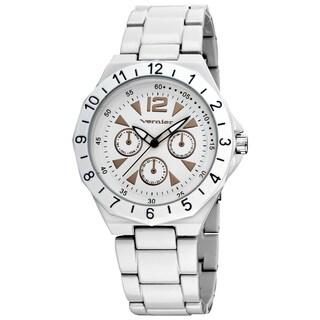 Vernier Women's White Sports Faux Chrono Bracelet Watch