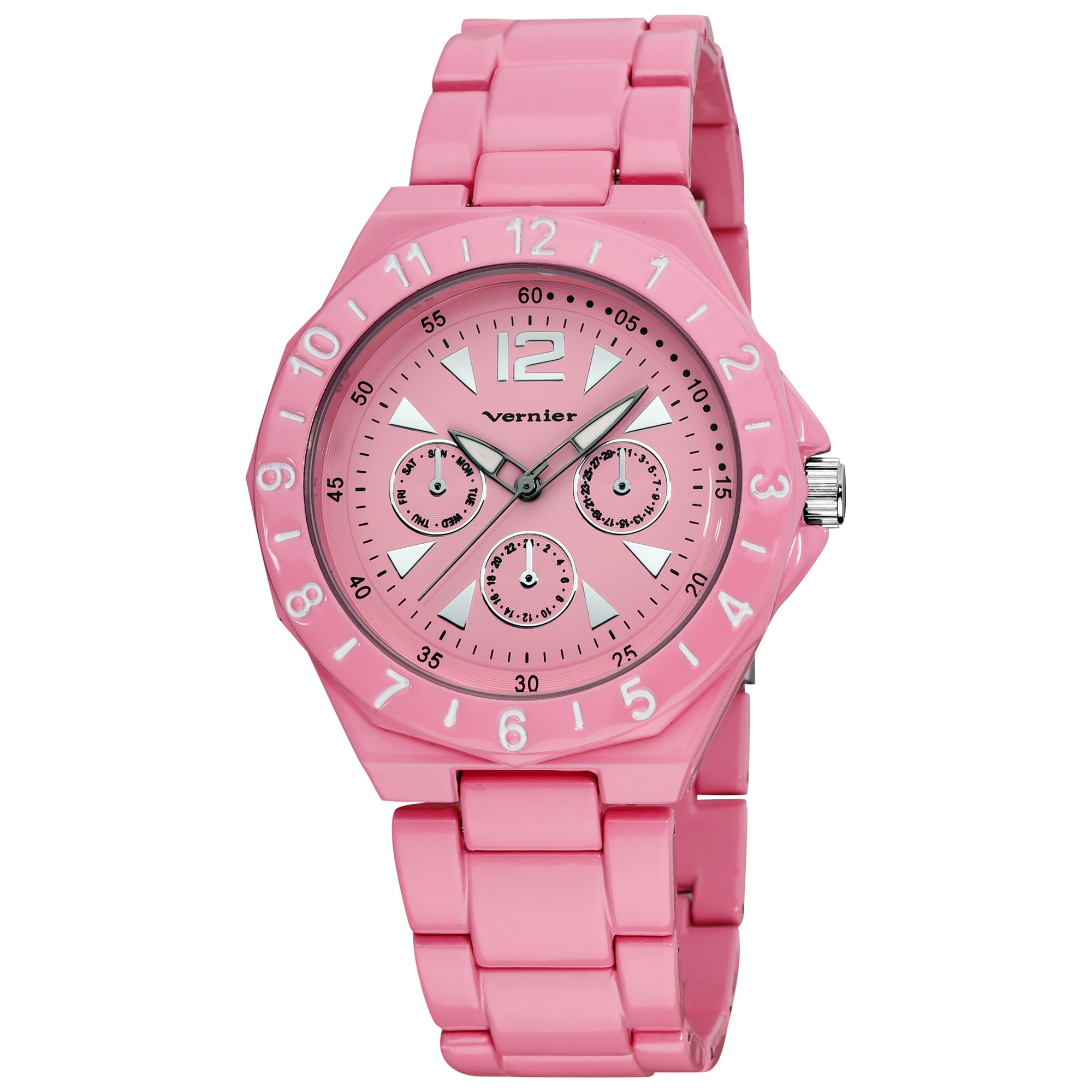 Vernier Women's Pink Sports Faux Chrono Bracelet Watch
