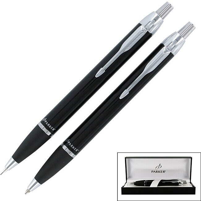Parker IM Black Chrome Trim Ballpoint Pen and Mechanical Pencil Gift Set