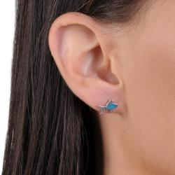 Journee Collection Sterling Silver Genuine Turquoise Fish Stud Earrings