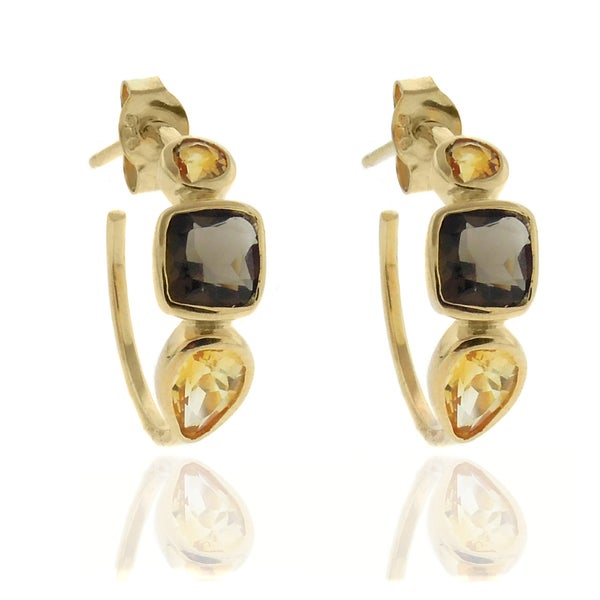 Dolce Giavonna 18k Gold over Silver Smokey Quartz and Citrine Hoop Earrings