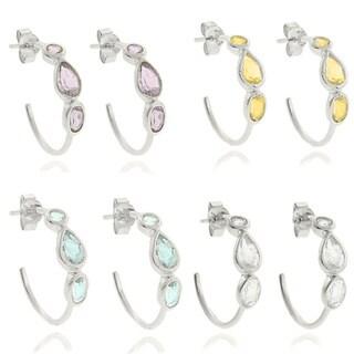 Dolce Giavonna Sterling Teardrop Gemstone Hoop Silver Earrings