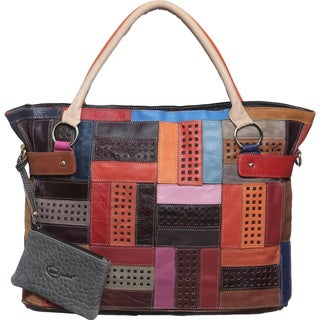 Amerileather Rainbow Mazy LeatherTote Bag