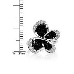 10k Gold 3/4ct TDW Black Diamond Butterfly Ring - Thumbnail 2