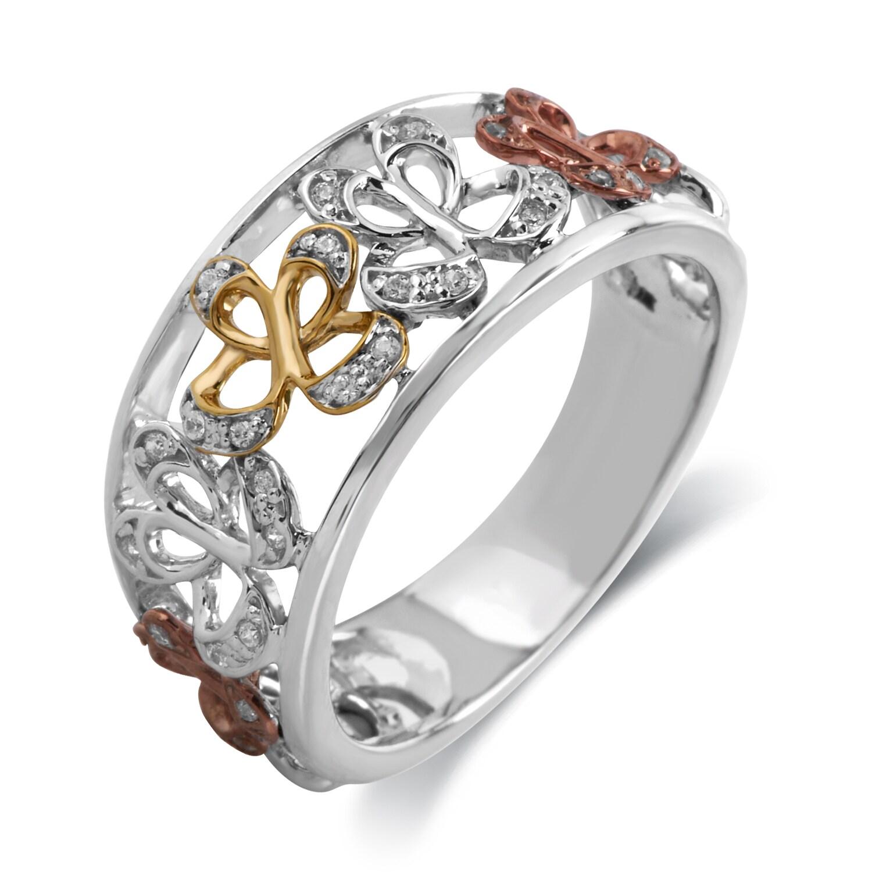Bridal Symphony 10K Gold 1/10ct TDW Diamond Butterfly Ring