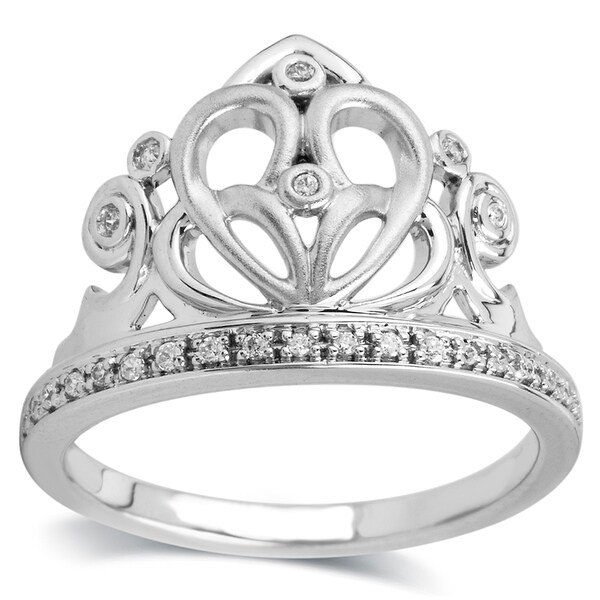Bridal Symphony Sterling Silver 1/10 ct TDW Diamond Heart Crown Ring