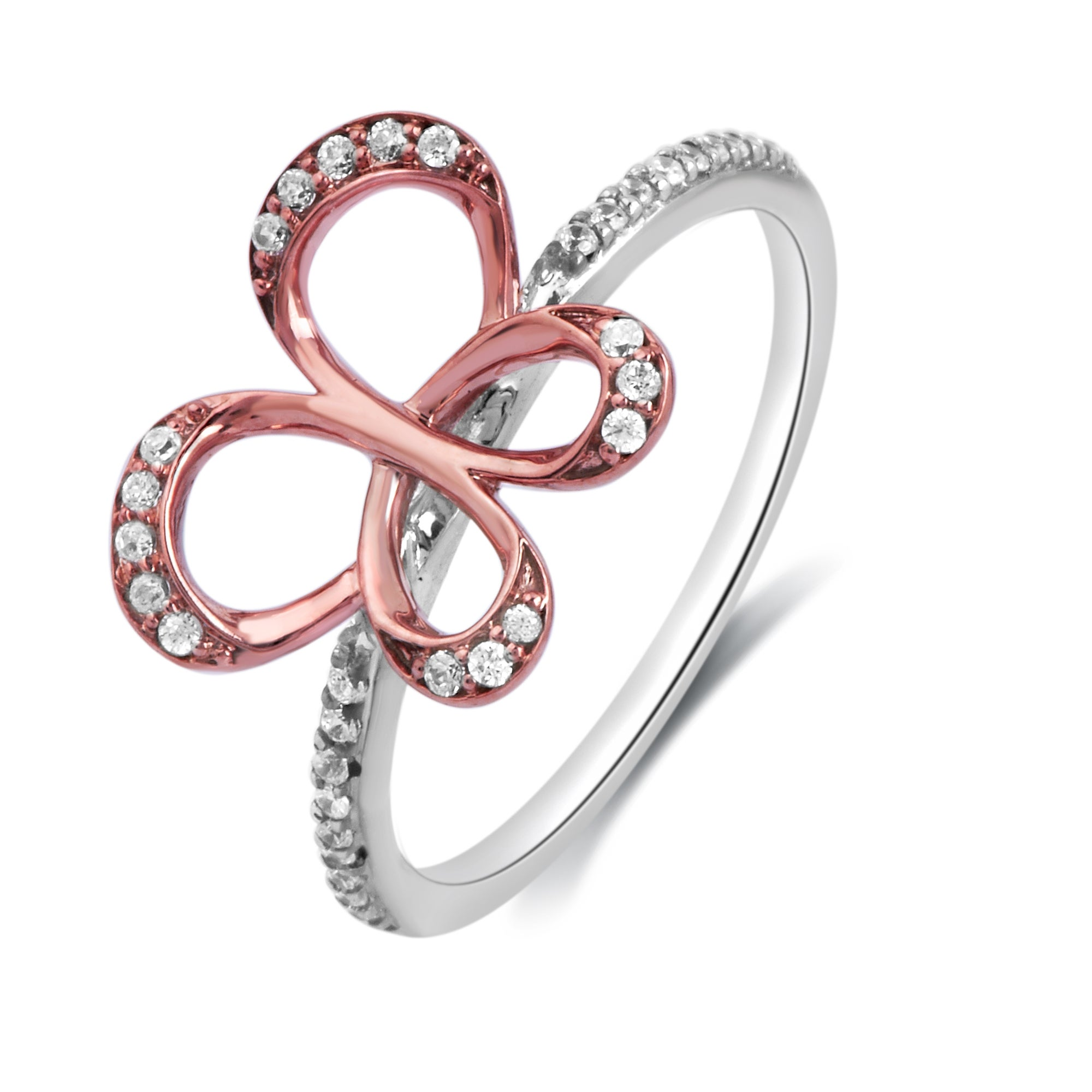 10K Rose and White Gold 1/6ct TDW Diamond Butterfly Ring - Thumbnail 0