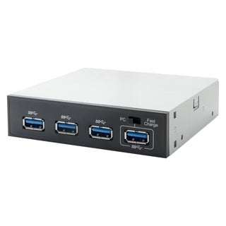 "SYBA Multimedia USB 3.0, 3.5"" 4-Port Hub Bay with 1x Fast Charging Po"