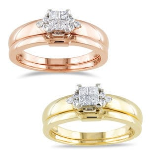 Miadora 10k Gold 1/4ct TDW Diamond Bridal Ring Set