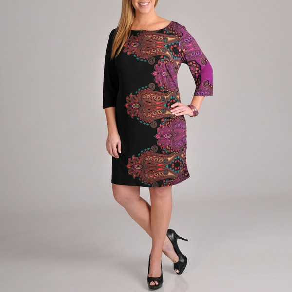 Tiana B Women's Plus Size Long Sleeve Paisley Printed Dress