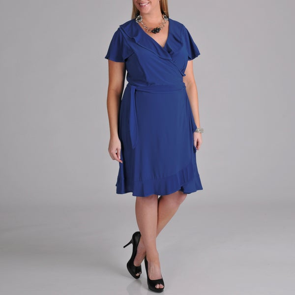 Tiana B. Women's Plus Size Ruffle Edge Wrap Tie Dress