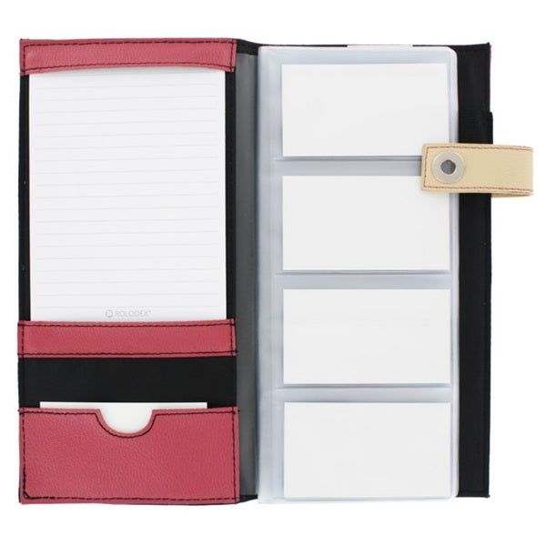 Rolodex Snap Buckle Pink & Tan 96 Count Business Card Holder Book - 81825