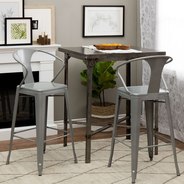 Shop Tabouret Silver With Back 30 Inch Bar Stools Set Of