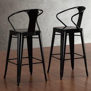Tabouret Black with Back 30-inch Bar Stools (Set of 2)