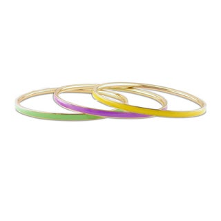 Miadora Multi-colored Enamel 3-piece Bangle Set