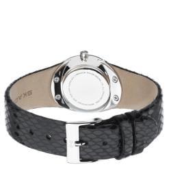 Skagen Women's Black Leather Strap Glitz Watch - Thumbnail 1