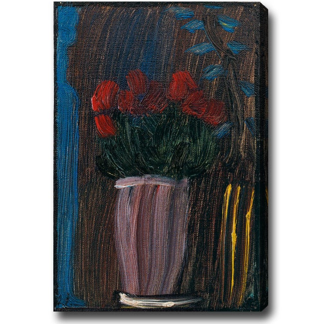 'Red Flower with Blue Branches' Oil on Canvas Art