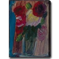 'Red and Purple Roses' Abstract Oil on Canvas Art - Multi