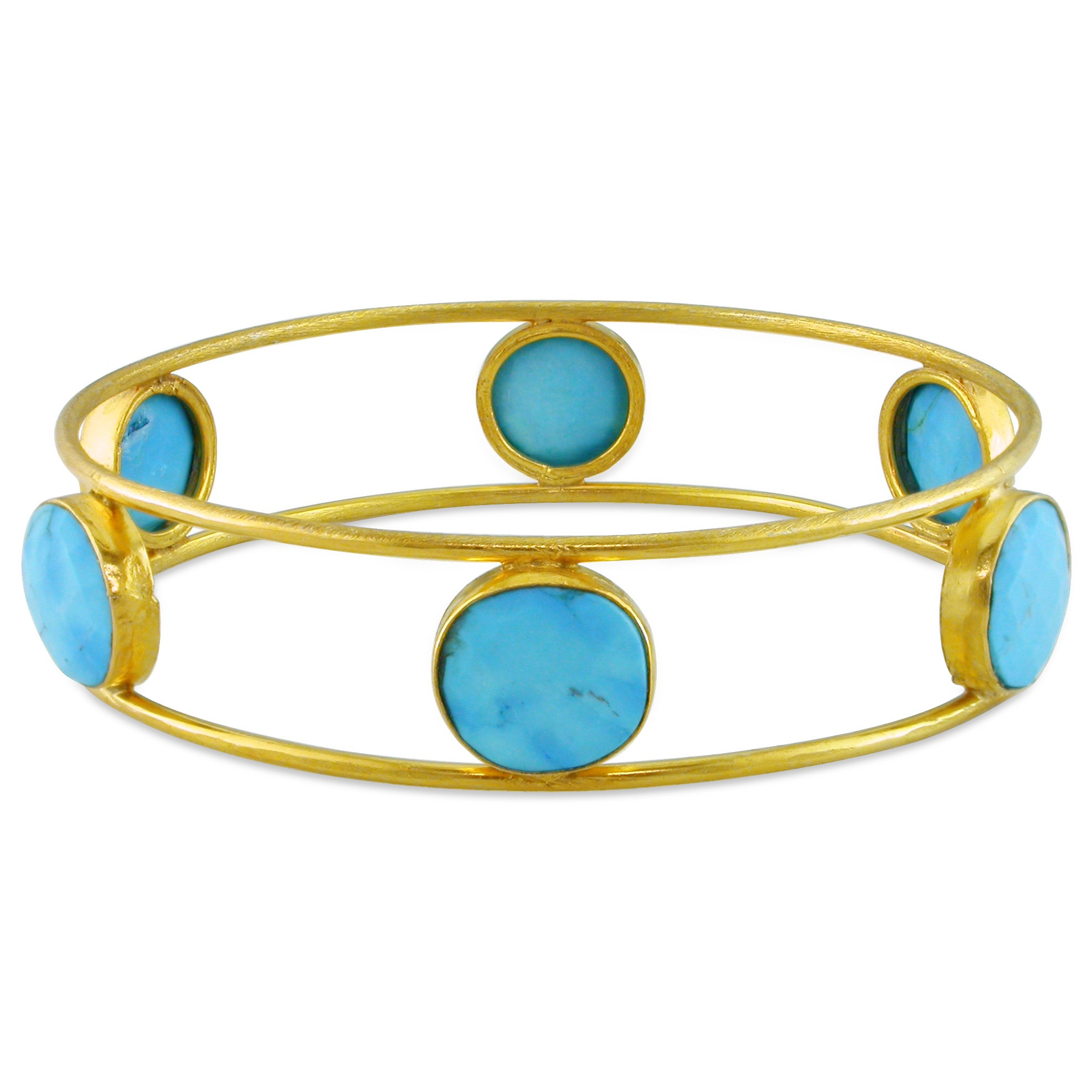 Miadora 22k Yellow Gold-plated Silver Turquoise Bangle