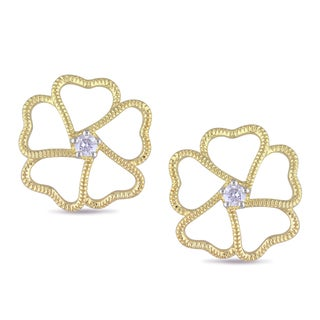 Miadora Yellow Plated Silver 1/6ct TDW Diamond Flower Earrings