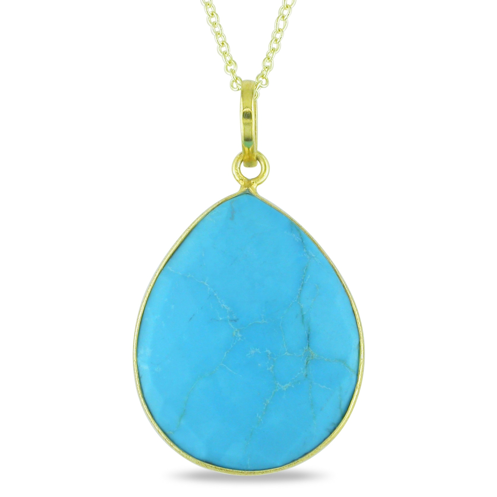 22K Gold-Plated Silver Turquoise Pendant Necklace