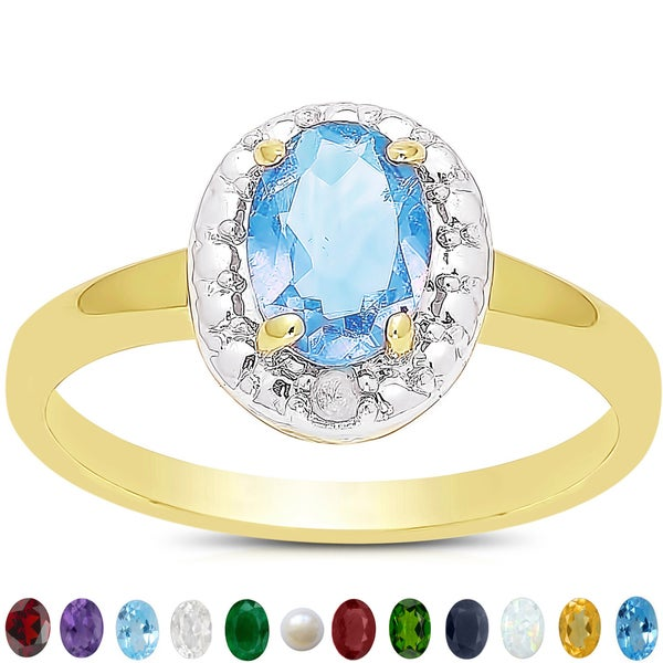 Dolce Giavonna 14k Gold Overlay Birthstone and Diamond Ring (7 mm)