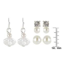 Roman Silvertone Faux Pearl and Crystal 3-pair Earring Set