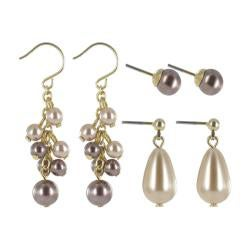 Roman Goldtone Beige and Brown Faux Pearl 3-pair Earring Set