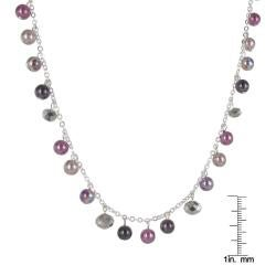 Roman Silvertone Purple and Grey Faux Pearl and Crystal 32-inch Necklace - Thumbnail 2