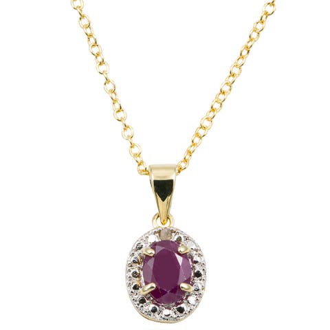 Dolce Giavonna 14k Gold Overlay Gemstone/ Pearl and Diamond Accent Birthstone Necklace
