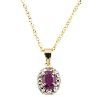 Dolce Giavonna 14k Gold Overlay Gemstone/ Pearl and Diamond Accent Birthstone Necklace (3 options available)