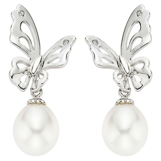 Pearlyta Sterling Silver Children's Freshwater Pearl Butterfly Drop Earrings (7-8 mm)