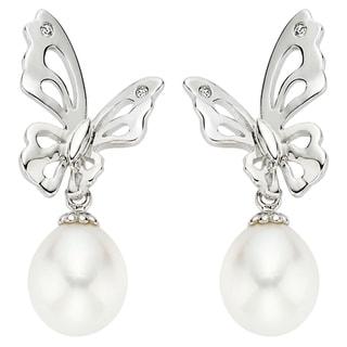 Pearlyta Sterling Silver Children's Freshwater Pearl Butterfly Drop Earrings (7-8 mm)