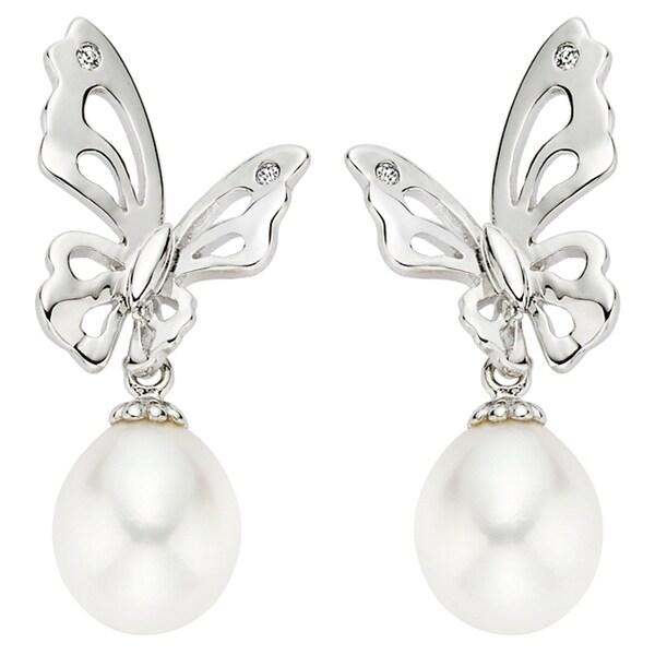 Pearlyta Sterling Silver Children's Freshwater Pearl Butterfly Drop Earrings (7-8 mm) - White