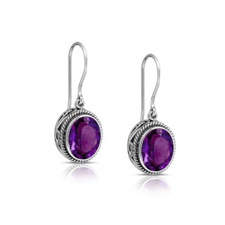 Sterling Silver and Amethyst Oval Rope Edge Dangle Earrings (Indonesia)