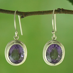 Handmade Sterling Silver and Faceted Oval Amethyst Dangle Earrings (Indonesia)
