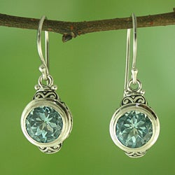Sterling Silver and Blue Topaz Round Dangle Earrings (Indonesia)