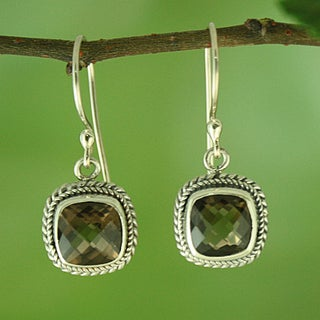 Sterling Silver and Smoky Topaz Square Rope Edge Dangle Earrings (Indonesia)