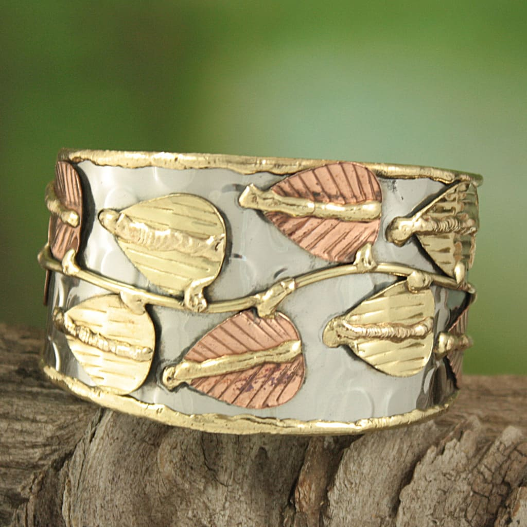 Handcrafted Wide Brass/ Copper Leaf Vine Cuff Bracelet (India) - Thumbnail 0