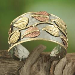 Handcrafted Wide Brass/ Copper Leaf Vine Cuff Bracelet (India) - Thumbnail 1
