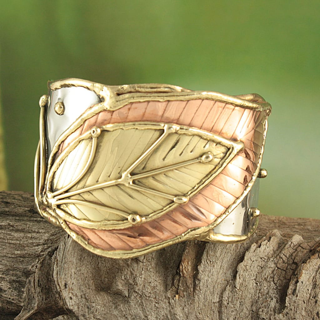 Handcrafted Wide Brass/ Copper Leaf Cuff Bracelet (India) - Thumbnail 0