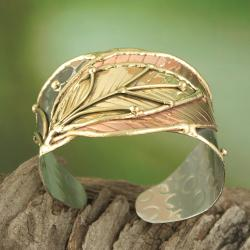 Handcrafted Wide Brass/ Copper Leaf Cuff Bracelet (India) - Thumbnail 1