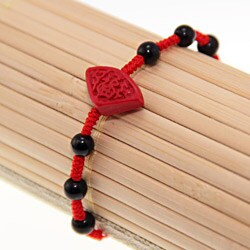Handmade Red Lacquer Carving Blessing Bracelet (China)
