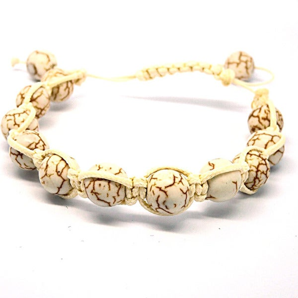Pretty Little Style White Turquoise Macrame Bracelet
