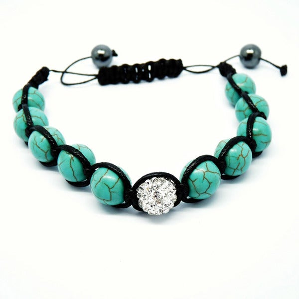 Pretty Little Style Turquoise & Rhinestone Shamballa Bracelet