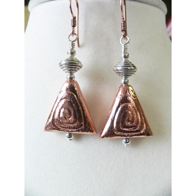 'Raven' Copper Triangle Earrings