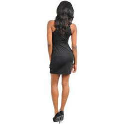Stanzino Women's Black Sleeveless Tiered Dress with Detailed Neckline - Thumbnail 1