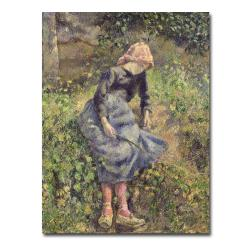 Camille Pissarro 'Girl with a Stick, 1881' Canvas Art