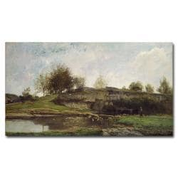 Charles Daubigny 'The Lock at Optevoz, 1855' Canvas Art