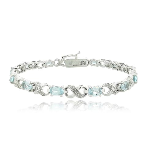 Glitzy Rocks Silvertone Gemstone and Diamond Infinity Link Bracelet